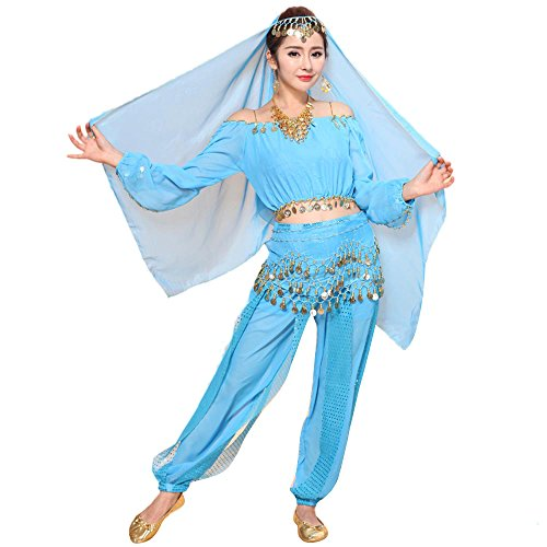 Indian Girl Kostüm Sexy - Lazzboy Kostüme Womens New Bauchtanz Set Indian Dance Dress Kleidung Top Hosen(M,Hellblau)