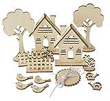 Rayher Holzbausatz Holz Steckmtiv Gartenhäuser 29 Teile Vogel Häuschen Basteln Malen DIY