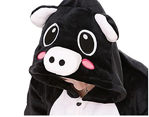 Pigiama kigurumi costume carnevale halloween adulti cosplay animali unisex tuta party, NERO ROSA, XL/altezza (Adulti Tuta)