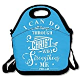 I Can Do All Things Through Christ Who Strengthens Me. Lunch Bags Insulated Travel Picnic Lunchbox Tote Handbag With Shoulder Strap For Women Teens Girls Kids Adults