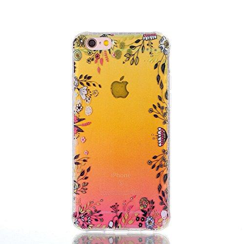iPhone 6 Plus Hülle, iPhone 6S Plus Handyhülle,iPhone 6 6S Plus TPU Silikon Backcover Case Handy Schutzhülle ,Cozy Hut iPhone 6 Plus iPhone 6S Plus Premium Transparent Soft TPU Silicone Hülle Bumper I Blumen