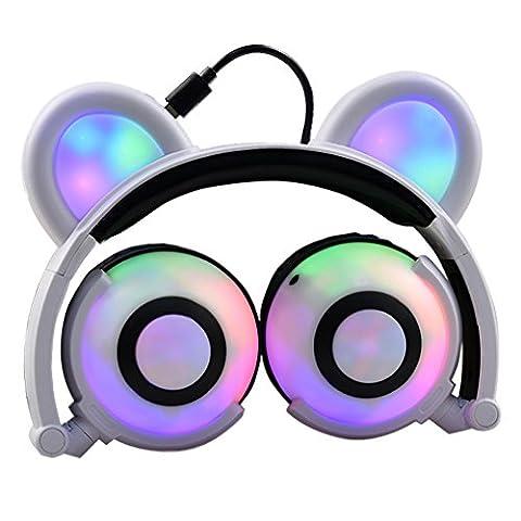 Bärenohren Kopfhörer mit LED Glowing / Blinken, Faltbarer Wiederaufladbare Wired Headset für Mädchen, Kinder, kompatibel für Notebook PC, Smartphone, MP3 (Familien Gemeinsam Auf Weihnachten)