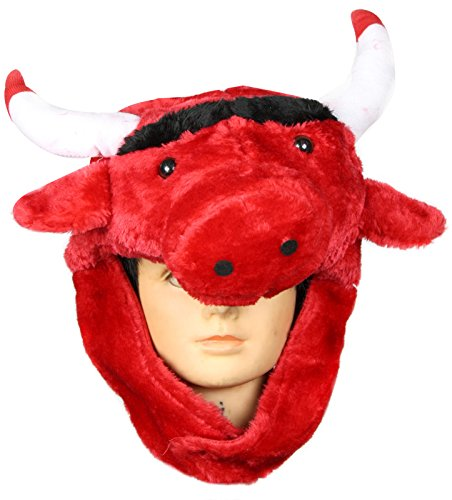 Petitebelle Red Cow Bull Animal Warm Hat Halloween Costume Unisex Children Adult (One Size)