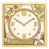 THUN - Orologio da Parete Unisex con Coniglietto, Ape e Farfalla - Ceramica - h 20,75 x 20,66 h cm