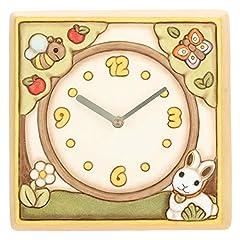 Idea Regalo - THUN ® - Orologio da Parete Unisex con Coniglietto, Ape e Farfalla - Ceramica - h 20,75 x 20,66 h cm