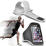 I-Sonite (White) Justierbarer Sweatproof/Wasser-beständiger Sport-Eignungs-Laufender Turnhallen-Armband-Telefon-Fall für HTC One M9+ Supreme Camera [ XXL ]