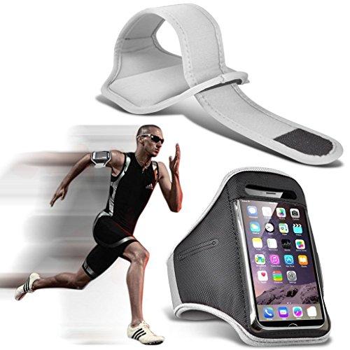 I-Sonite (White) Justierbarer Sweatproof/Wasser-beständiger Sport-Eignungs-Laufender Turnhallen-Armband-Telefon-Fall für ASUS ZenFone 3 Deluxe [ XXL ] Deluxe Armband Fall