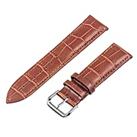 TRUMiRR 18mm Genuine Leather Watchband Replacement Band Bracelet Strap for Huawei Watch, Asus Zenwatch 2 Women's WI502Q, Withings Activite / Steel / Pop,Light Brown