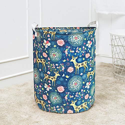 Großer Wäschekorb mit langlebigem Griff Wasserdichter, runder Aufbewahrungskorb aus Baumwollleinen (Mehrfarbig) D1 40X50cm -