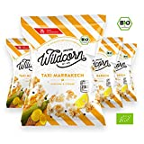 Wildcorn - salziges Popcorn - Kurkuma Zitrone (4x50g) | gesunder Snack | leckere Alternative zu Chips | Superfood für Büro, Unterwegs, Kino | vegan | 100% Bio | ohne Zuckerzusatz | glutenfrei | Healthy Food | Taxi Marrakech