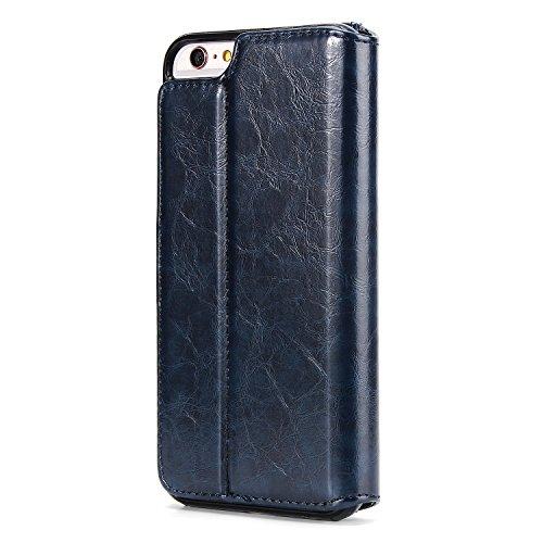 BCIT iPhone 6 Plus Custodia - [Staccabile funzione] Portafoglio 2 in 1 PU di cuoio pelle con supporto carte di credito in Piedi caso Case per iPhone 6 Plus - Blu Blu