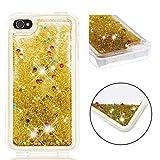 BONROY iPhone 4S Hülle, süß Netter Entwurfs-glänzender Funkeln-Bewegen Quicksand löschen TPU schützender Telefon-Kasten für Apple iPhone 4S (3,5 Zoll)-Gold