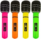 1 x Party Time Inflatable 40cm Neon Coloured Microphone (Colours May Vary)