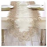 Rancheng Chemin de Table Decoration Lace Dentelle Broderie Table Runner pour Maison Fêtes Mariage Anniversaire Élégant Cadeau 40cmx70cm
