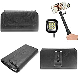 DMG Durable Cell Phone Pouch Carrying Case with Belt Clip Holster for samsung galaxy star pro 7262 (Black) + 3.5mm Continuous LED Spotlight Flash