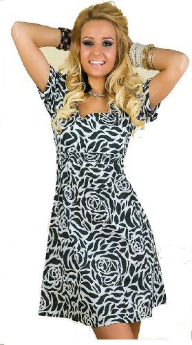 verano-mujer-ninas-manga-corta-maxi-mini-floral-multi-color-celebrity-estilo-negro-y-blanco-vestido-