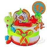 Windeltorte / Pamperstorte > Babygeschenk für Mädchen und Jungen in schönem 3-Farbigenton (Weiß/Grün/Orange) // Geschenk zur Geburt, Taufe, Babyparty // originelles und praktisches Geschenk für Babys