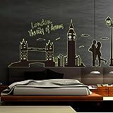 GOUZI Se félicitant de la tête du lit décor de mur Glow-in-the-Clock Tower of London affiches papier peint mural mural amovible pour chambre à coucher salle de séjour salle de bains mur arrière-plan Étude de Coiffure