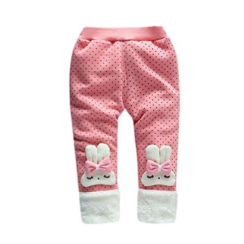 (Hirolan Modisch baby Hose Jungen Mädchen Wärmer Hose Kinder Karikatur Bowknot Hose Kinder Winter Baumwolle Gamaschen strampler (110cm, Pink))