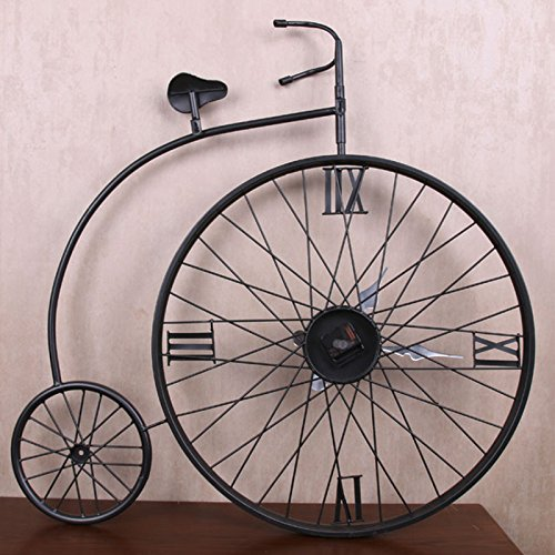 JJD Aire Industrial Para Manejar La Bicicleta De Hierro Antiguo Reloj De Pared Reloj De Pared Creativa Reloj De Pared Home Decoración De Pared/87X90Cm