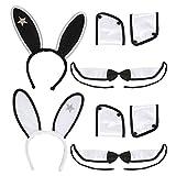Widmann 5467X - Kostümset Bunny für Erwachsene - Ohren, Kragen mit Fliege 2 x Manschette
