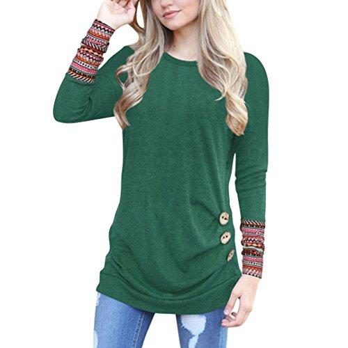 OverDose Frauen Solide Shirt Langarm Botton Falten Bluse Lässig O Neck Casual Tops Plus Größe(XXL,B-Grün) (Baumwolle Bowling Sweatshirt)