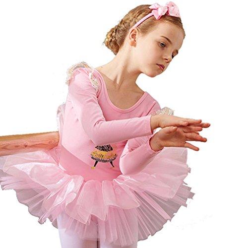 Wgwioo prinzessin ballett mädchen kleid kindergarten kinder tanz performance kostüme tüll chiffon party kinder bühnen studenten gruppe team gymnastik praxis match kleidung , pink , 110cm (Halloween Kostüme Für Ballett Tänzer)
