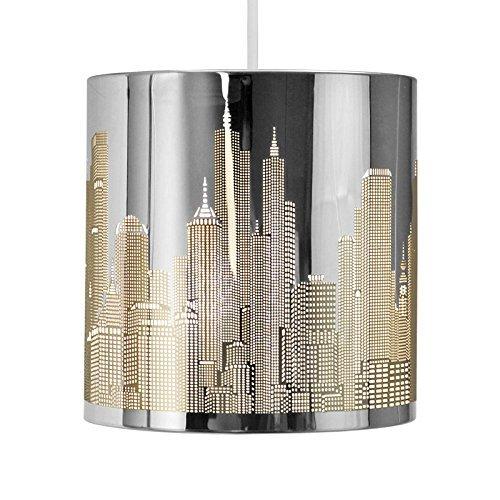 MiniSun - Moderna pantalla de lámpara de techo colgante, inspirada en el paisaje de Nueva York - Cromo efecto espejo