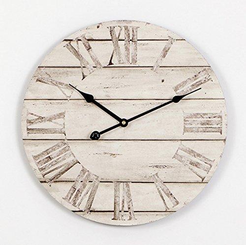 Retro Nostalgische Wanduhr Europäische handgefertigte hölzerne hängende Uhr Uhr nicht tickende leise Vintage Dekorationen Uhr Wohnzimmer Schlafzimmer Bar Cafe römischen Ziffern (Durchmesser 40Cm) (Silhouette Zeiger)