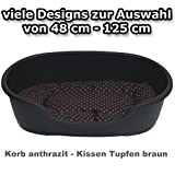 adena Hundekorb 92 x 61 cm anthrazit + Kissen Tupfen braun