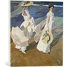 """Kunst für Alle Reproduction sur toile: Joaquin Sorolla y Bastida Strolling along the Seashore, 1909"""" - impression d'art de haute qualité, toile sur châssis, Tableau prêt à susprendre, 45x45 cm"""