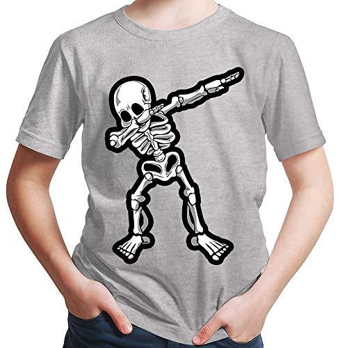 HARIZ  Jungen T-Shirt Dab Skelett Dab Teenager Trend Halloween Plus Geschenkkarten Hell Grau 164/14-15 Jahre