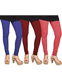 CAY 100% Cotton Combo of Pink, Blue and Maroon Color Plain, Stylish & Most Comfortable Leggings For Girls & Women with Full Length (SIZE : Free Size)