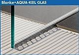 AQUA-KEIL GLAS, Edelstahl gebürstet 148cm lang, 42mm hoch, rechter Anschlag