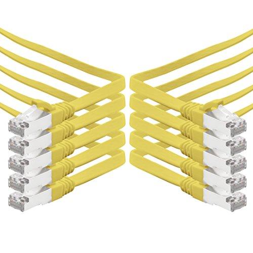 5m - gelb - 10 Stück CAT.7 Gigabit Ethernet LAN Flachband Flachbandkabel (RJ45) Netzwerkkabel Rohkabel (10Gbit/s) Verlegekabel Flach Slim kompatibel zu Cat.5 - Cat.5e - Cat.6