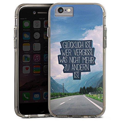 Apple iPhone 6 Plus Bumper Hülle Bumper Case Glitzer Hülle Happiness Sprüche Sayings Bumper Case transparent grau