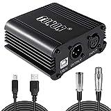 TONOR 48V Alimentation Fantôme avec Câble USB XLR pour Équipement d'Enregistrement...