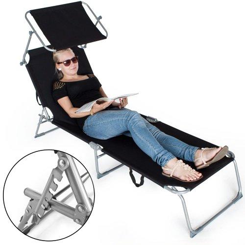 TecTake Gartenliege Sonnenliege Strandliege Freizeitliege mit Sonnendach 190cm -diverse Farben- (Schwarz) - 4