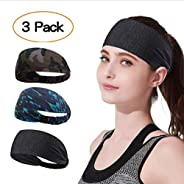 YOMYM 3 Pack Headbands Sports Sweat Band Hairband for Men Women Running, Basketball, Soccer, Tennis, Cycling,