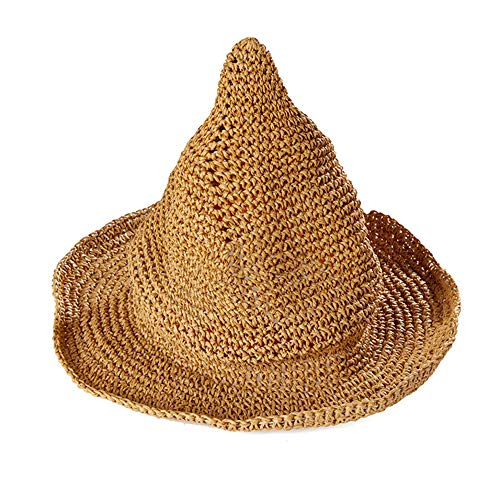 Frauen Stroh scharfe Spitze Hexe Hut, Halloween Hexe Hut breiter Krempe Faltbare Spitze Cap ()