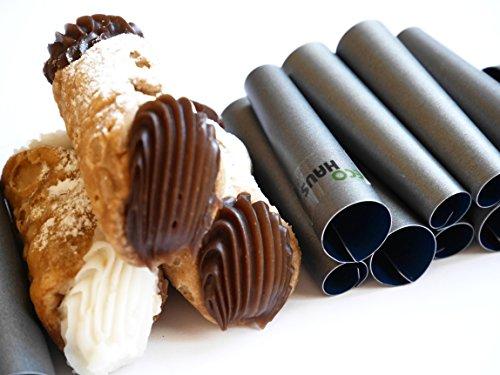 (Eco Haus Living Premium Cannoli Tube 10 Stück - 7 cm Teigrollchen Antihaftbeschichtung - Rund TEFLON Form zum Backen - Einfaches Waschen - ideal für süß und salzig oder kleine Kuchen und Vorspeisen)