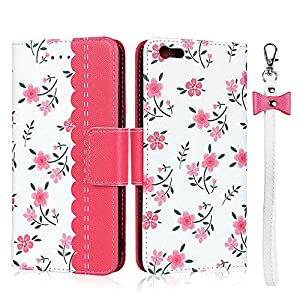 FAWUMAN Case for iPhone 6s /iPhone 6 with Lanyard Premium Flowers PU+TPU Flip Case Wallet Card Slots Mobile Phone Case with Stand Function,Magnetic Closure Protective Case-Red   13