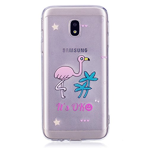 Preisvergleich Produktbild Samsung J3 2017 Hülle, Samsung Galaxy J3 2017 Hülle Silikon, Samsung Galaxy J330 Schutzhülle, Cozy Hut ®[Liquid Crystal] 3D Romantik Flower Animal Cartoon Series Transparent Weiche Silikon Malerei Muster Hülle [Kratzfest] Anti-Fingerabdruck,Scratch und Staub-Ultra Dünn Durchsichtige Silikon Schutzhülle TPU Case für Samsung Galaxy J3 2017 / J330 - Cartoon Flamingo