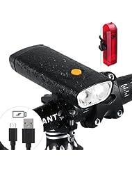 LED Fahrradlicht Tragbares Ladegerät - 5000 mAh 1000 Lumen Wiederaufladbare Fahrrad Scheinwerfer mit USB-Ausgang Funktion - Wasserdicht Fahrrad Front Rücklicht Set passend für alle Fahrräder