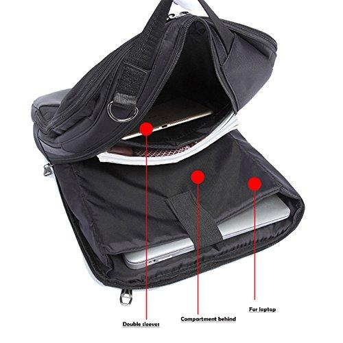 Imagen de  para portátil, 3 en 1 bolsa bandolera/maletin/backpack de hombres para laptop 15.6 pulgada, impermeable netbook dayback para universidad/negocios/trabajo, negro alternativa