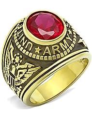 ISADY - US Army Gold Rubis - Bague Homme - Chevalière - Oxyde de zirconium rouge