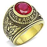 ISADY - US Army Rubin - Herren-Ring - 585er 14K Gold platiert - Zirkonium Rot - T 66 (21.0)