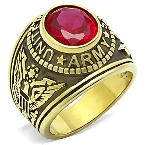 ISADY - US Army Rubin - Herren-Ring - 585er 14K Gold platiert - Zirkonium Rot - T 66 (21.0) - Herren-marine-ring