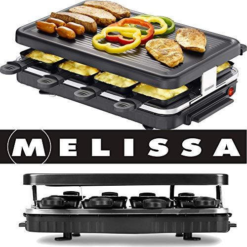 Melissa 16300014 Raclette Grill zum Grillen und Überbacken, 8 Pfännchen, Antihaftbeschichtung, 1200 Watt Grillplatte Party