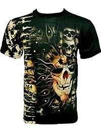 Rock Chang T-Shirt * Pierced Skull * Tied-Dyed * Batik * Noir WO049